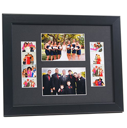 CreativePF [2-46-11x14bk-b] Black Event Photo Booth Frame Holds 2- 4 by 6 and 2- 2 by 6-inch Photographs with Black Collage Mat and Stand - 14bk Satin