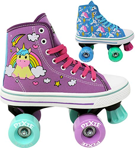 Lenexa Roller Skates for Girls - Pixie Unicorn Kids Quad Roller Skate - Indoor, Outdoor, Derby Children's Skate - Rollerskates Made for Kids - High Top Sneaker Style - Great for Beginner (Purple, J12) -