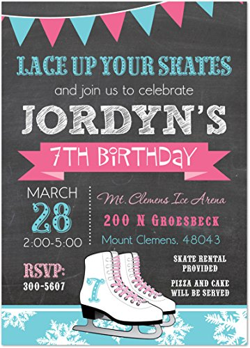 Pink Shoelace Blue Ice Skates Chalkboard Birthday Invitations (Ice Skating Party Supplies compare prices)