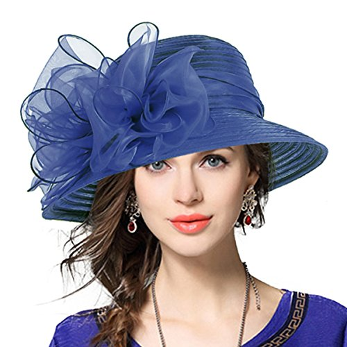 Womens Fashion Derby (Lady Derby Dress Church Cloche Hat Bow Bucket Wedding Bowler Hats (Navy, Medium))