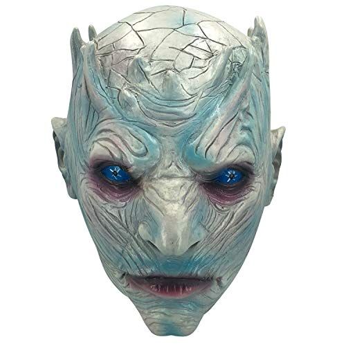 Game of Thrones Night's King White Walker Men's Full Head Mask Halloween Costumes mask Scary Mask for Men Adult Horror Theme Party Halloween Costume Night's King Latex Mask -