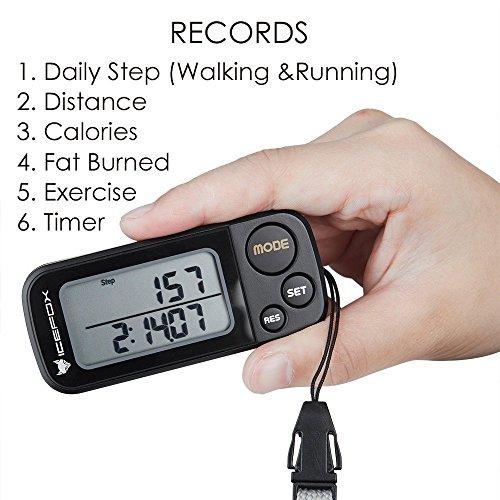 IceFox Walking 3D Pedometer with Clip and Strap,30 Days Memory,Best Accurate Step Counter,Walking Distance Miles and Km,Calorie Counter,Daily Target Performance Monitor,Exercise Time(Black) by IceFox (Image #1)