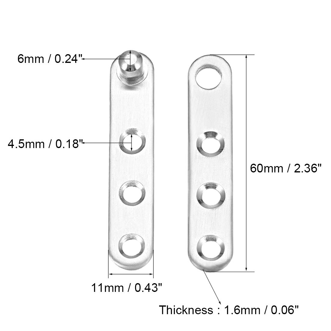 sourcing map 2 juegos de bisagra de pivote de puerta giratoria de acero inoxidable de 360 grados 60 mm x 11 mm