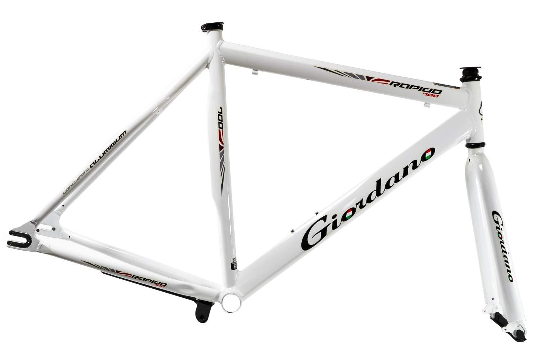 "28"" Zoll Fahrrad Rahmen Kit Single Speed Fixie Bike Frame Inkl. Anbauteile Weiss"