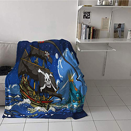 Khaki home Children's Blanket Ultralight Print Summer Quilt Comforter (70 by 90 Inch,Pirate,Caribbean Waters Adventure Time Volcano with Sea Storm Skull Island Jolly Roger,Multicolor