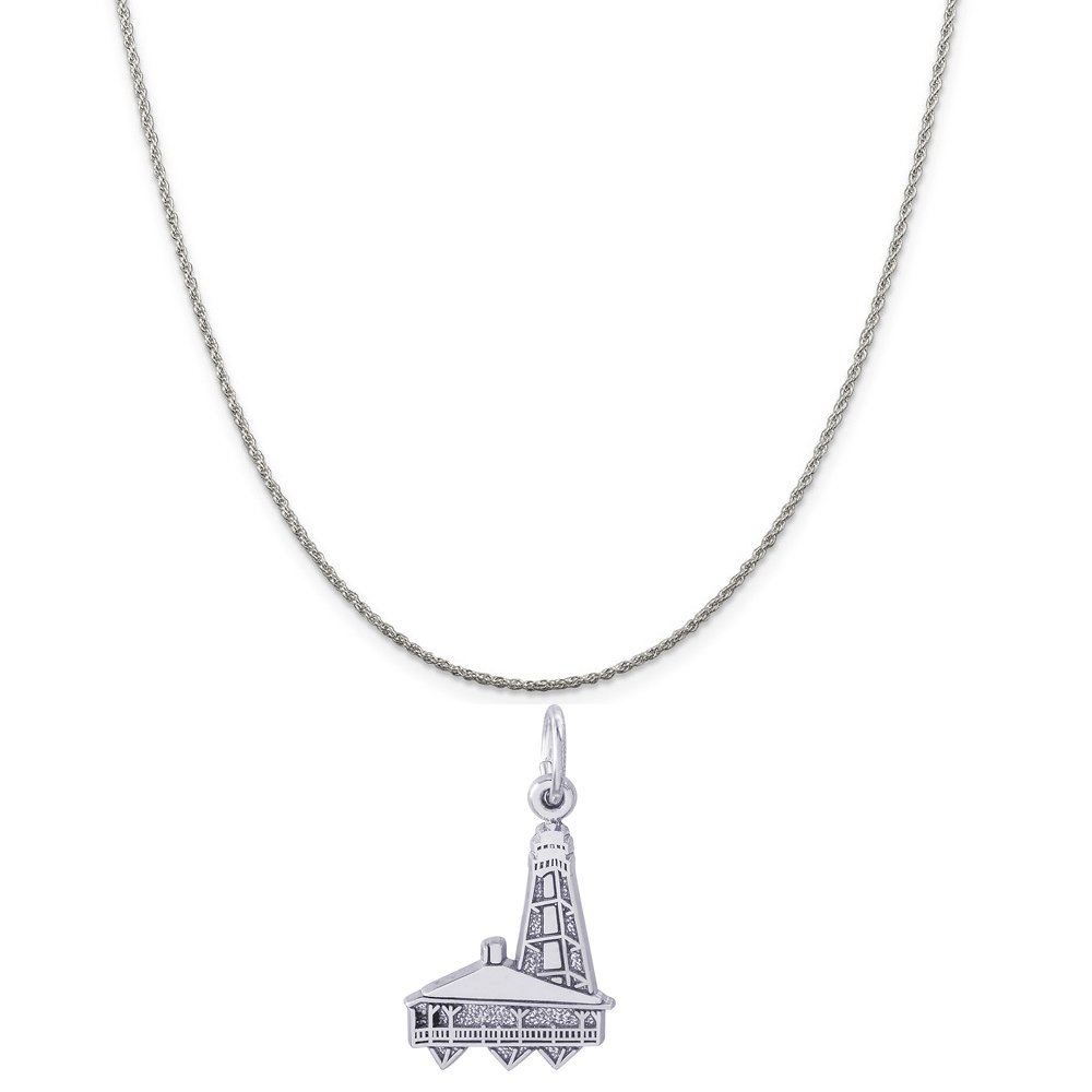 18 or 20 inch Rope Rembrandt Charms Sterling Silver Sanibel Island FL Lighthouse Charm on a 16 Box or Curb Chain Necklace