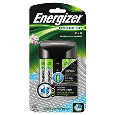 Energizer +B6 L6 Recharge Pro Charger with 4 AA NiMH Rechargeable Batteries, Auto Shutoff, Bad Battery Detection and Enhanced Charging Alerts