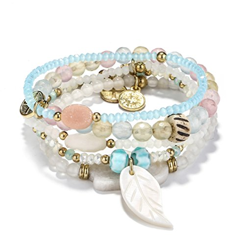 Handmade Multilayer Gemstone Natural Stone Beaded Stretch Bracelets Bohemian 5pcs Set for Women Girls Cuff Bangle Bracelets with Shell Leafe Gold by tom+alice