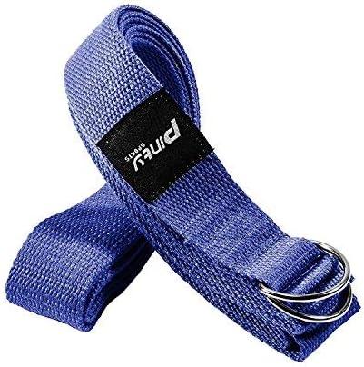 Pinty Correa de Yoga de Algodón 240cm / 305cm Arnés de Yoga Cinturón de Ejercicio con Cierre de Anillo de Metal para Principiantes y Avanzados (Azul, 240cm): Amazon.es: Deportes y aire libre