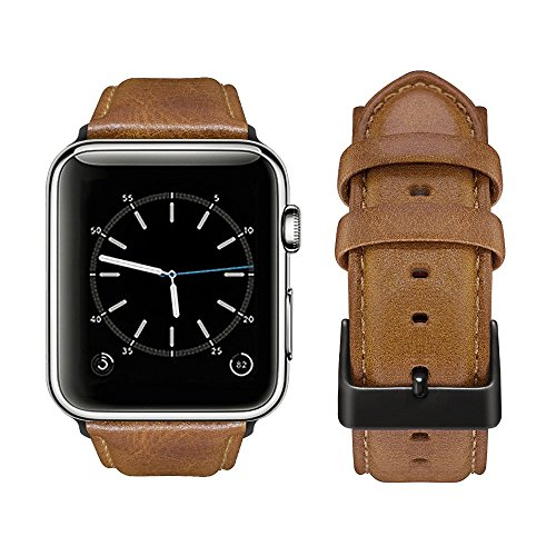 top4cus Genuine Leather iwatch Strap Replacement Band Stainless Metal Clasp, Compatible for 38mm 42mm Apple Watch Series 4(40mm 44mm) S3 S2 S1 and Sport Edition (42mm, Matte Buckle - Yellow Brown)