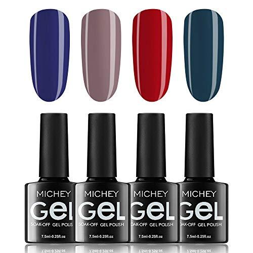 Soak Off Nail Gel Polish Kit, MIYOUNE 4 colors Gel Nail Polish Green Red UV LED Gel Manicure Nail Set