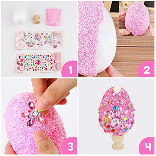 AMOR PRESENT 2 PCS Foam Decorative Easter Eggs Glitter Easter Egg Ornaments for Crafts Easter Party Favor Eggs Hunt Basket Stuffers Fillers Birthday Party Decorations