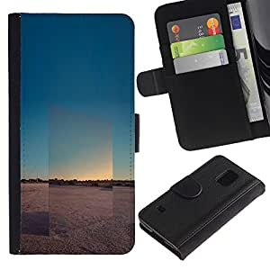 LASTONE PHONE CASE / Lujo Billetera de Cuero Caso del tirón Titular de la tarjeta Flip Carcasa Funda para Samsung Galaxy S5 V SM-G900 / View Landscape Horizon Desert
