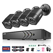 ANNKE 720P Security Camera System 8ch 1080N DVR Recorder and (4) 1280TVL 1.0MP Weatherproof Cameras, HDMI output, Motion Dection