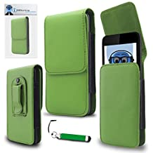 HTC U11 Green PU Leather Vertical Executive Side Pouch Case Cover Holster with Belt Loop Clip and Magnetic Closure and Re-Tractable Stylus Pen For HTC U11