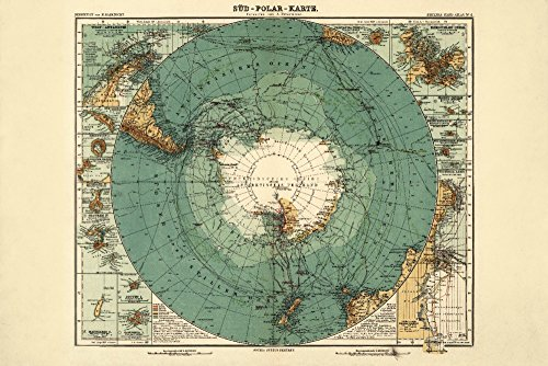 - Antarctica - (1912) - Panoramic Map (16x24 Giclee Gallery Print, Wall Decor Travel Poster)
