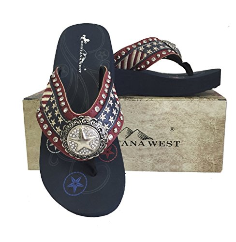 (Montana West Women Flip Flops American Flag USA Stars Stripes Wedge Sandals Red)