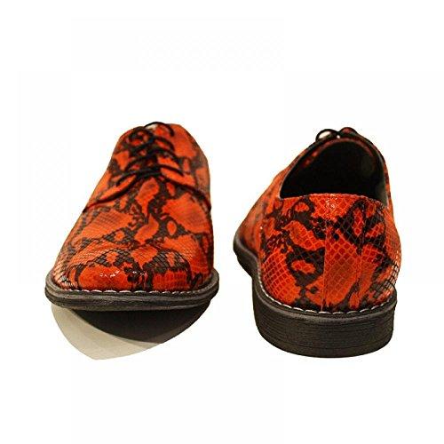 PeppeShoes Modello Lucifero - Handmade Italiennes Cuir Pour des Hommes Rouge Chaussures Oxfords - Peau de Chèvre Cuir Souple - Lacer