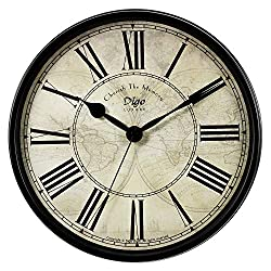OMEYA Wall Clock,12 Inch Silent Non Ticking Clock Quarzt Battery Operate Decorative Retro Roman European Style Vintage for Living Room, Bedroom, Kitchen