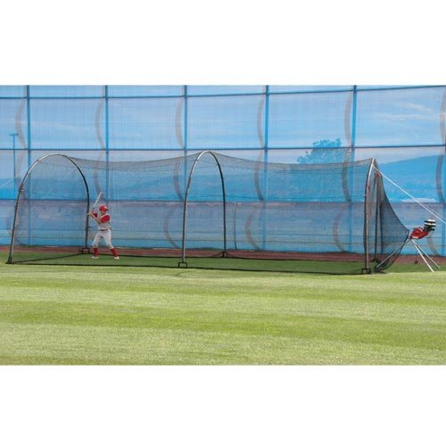 HEATER SPORTS Xtender 30' Baseball and Softball Batting Cage Net and Frame, With Built In Pitching Machine Harness For Safety (Machine NOT Included)