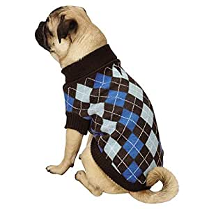 Zack & Zoey Argyle Prep Pet Sweater, Large, Blue