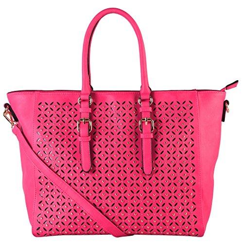 rimen-co-pu-leather-laser-cut-studded-design-tote-womens-purse-handbag-gs-3225-fuchsia