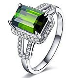 2.2ct Emerald Cut 6X8mm Green Tourmaline Gemstone Diamonds In 14Kt White Gold Wedding Engagement Bridal Band Ring for Women