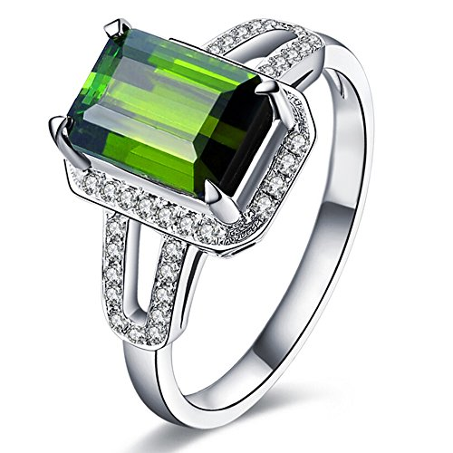 2.2ct Emerald Cut 6X8mm Green Tourmaline Gemstone Diamonds In 14Kt White Gold Wedding Engagement Bridal Band Ring for Women by Kardy