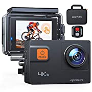APEMAN Latest Model/Action Camera A87, 4K 60FPS Touch Screen 20MP WiFi Sports Cam for Vlog Underwater Camcorders Waterproof 40M with Remote Control and Carrying Bag