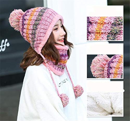 Mantiene al Aire Winter Sets Thick Female Libre rosado Winter Knitting Cap Bufanda Mujeres Wool Twinset Wool Cap Fashion Thermal XIANGMAI Warm wvq4Pq