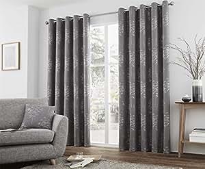 "Jacquard árboles grafito gris pesado forrado 90""x 90–229cm x 229cm anillo Top cortinas"