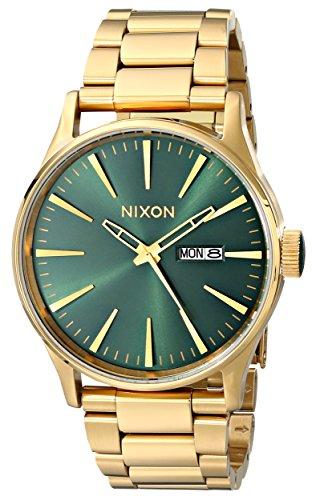 Nixon Sentry SS A3561919-00. Gold/Green Sunray Men's Watch (42mm Gold/Green Sunray Watch Case. 23-20mm Gold Band) from NIXON