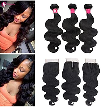 Fantastic Amazon Com Forawme Brazilian Virgin Hair Weaves With Closures Hairstyles For Women Draintrainus