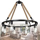 """OSAIRUOS Round Farmhouse Rustic Rope Chandelier Antique Retro Industrial Ceiling Pendant Light Downlight Chandeliers Lighting Fixture 8-Lights for Kitchen Island Living Room W30"""", Painted Black For Sale"""