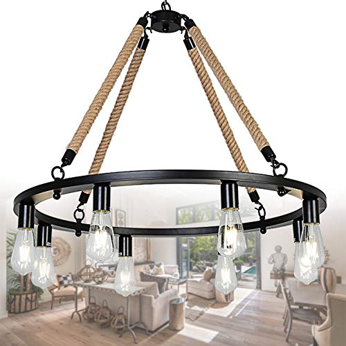 OSAIRUOS Round Farmhouse Rustic Rope Chandelier Antique Retro Industrial Ceiling Pendant Light Downlight Chandeliers Lighting Fixture 8-Lights for Kitchen Island Living Room W30'', Painted Black