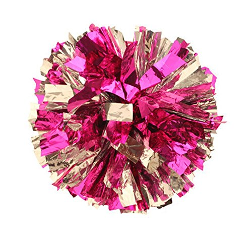 BCLAND Cheerleading Metallic Foil & Plastic Ring Pom Poms pack of 2 (pink with silver) ()