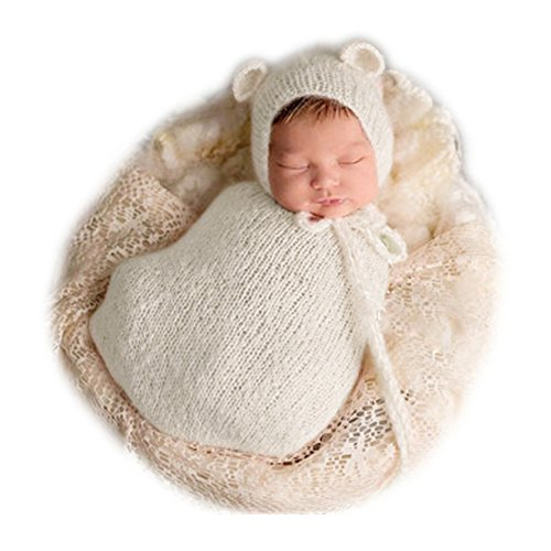 Fashion Newborn Boy Girl Baby Costume Knitted Photography Props Hat Sleeping Bag (Creamy-White)