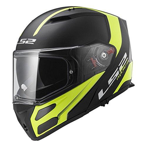 LS2 Helmets Metro Unisex-Adult Modular/Flip Up Helmet (Matte Black, Large) (Rapid Hi-Vis)