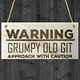Red Ocean Warning Grumpy Old Git Approach With Caution Novelty Wood Plaque Birthday Present Gift Sign by Red Ocean