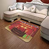 TecBillion Polyester Carpet,36th Birthday Decorations,for Meeting Room Dining Room,55.12'' x78.74'',Celebration Party with Cake Candles and