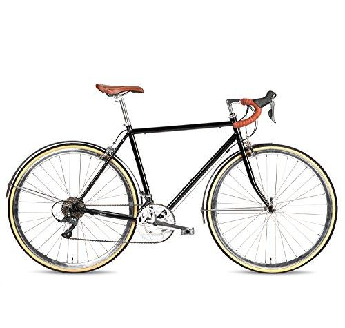 Populo Bikes Drive 16-Speed Classic Road Bike Full Cr-Mo Retro Commuter Bicycle, Black, 54cm/Medium Populo Bikes
