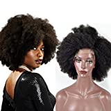 Lace Front Wigs for Black Women, Sunwell Human Hair Wigs Afro Kinky Curly Brazilian Human Hair Wigs 130% Density Natural Color 12 inch