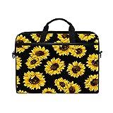 MRMIAN 15 inch Laptop Case Shoulder Bag Crossbody Briefcase Messenger Sleeve for Women Men Girls Boys with Shoulder Strap Handle, Back to School Gifts for Her Him (Sunflower)