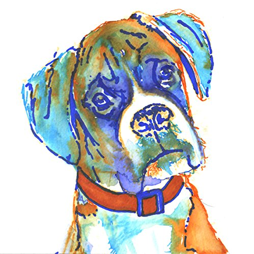 (Colorful Boxer Dog Painting Art Print, Boxer Dog Gift, Colorful Brindle Boxer Dog Art, Gift For Boxer Dog Owner, Orange Boxer Mom Art, Abstract Watercolor Boxer Dog Painting by Oscar Jetson)