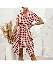 Benkeg Women Summer Plaid Dress V-Neck Short Sleeve Irregular Hem Dress Slim Casual Dress for Beach Party
