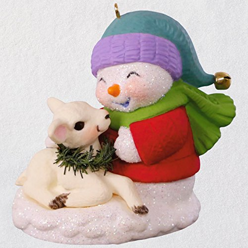 Hallmark Keepsake Christmas Ornament 2018 Year Dated, Snowman and Lamb Snow Buddies Series #21