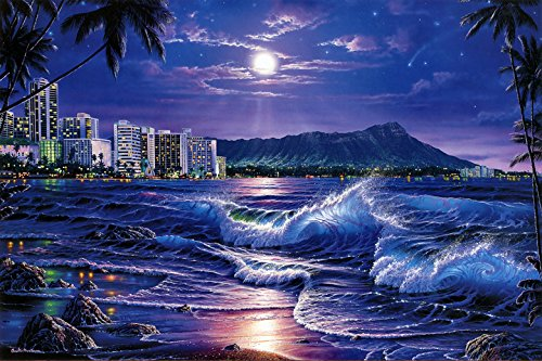 (landscape Art Christian Riese Lassen Waikiki Romance Oil Painting Prints on Canvas Wall Art Picture for Living Room Home Decorations)