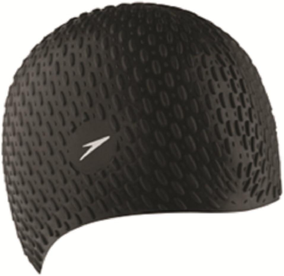Speedo Bubble Gorra de natación, Hombre, Negro, One Size: Amazon ...