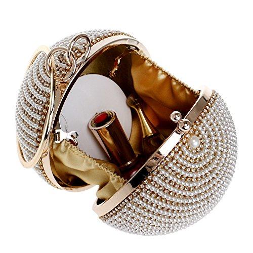 Wrist Beaded Clutch Pearl Purse Bag Handbag Bag Black Women Evening Round Ball Diamond qwCxER