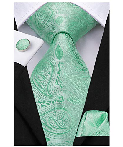 Dubulle Mens Mint Green Paisley Tie and Pocket Square Groom Wedding Necktie Set (Cufflinks Mint)